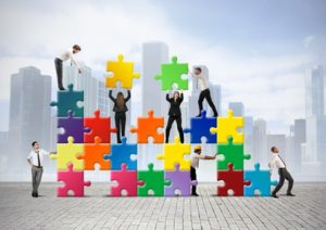 Business solution with puzzle pieces