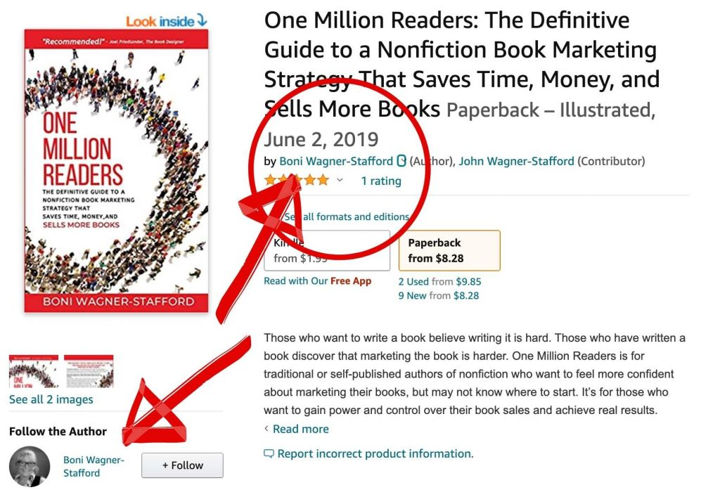image showing where readers see Amazon Author page links
